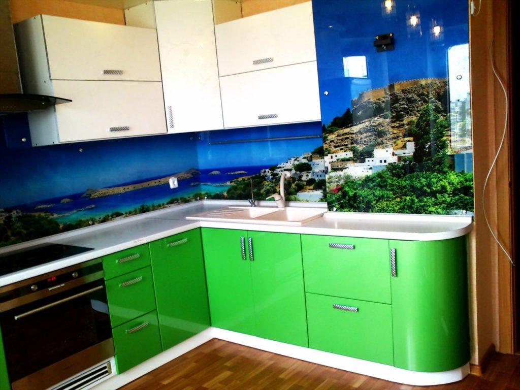 Кухонный фартук море, стеновая панель с изображением моря, греции, бухты