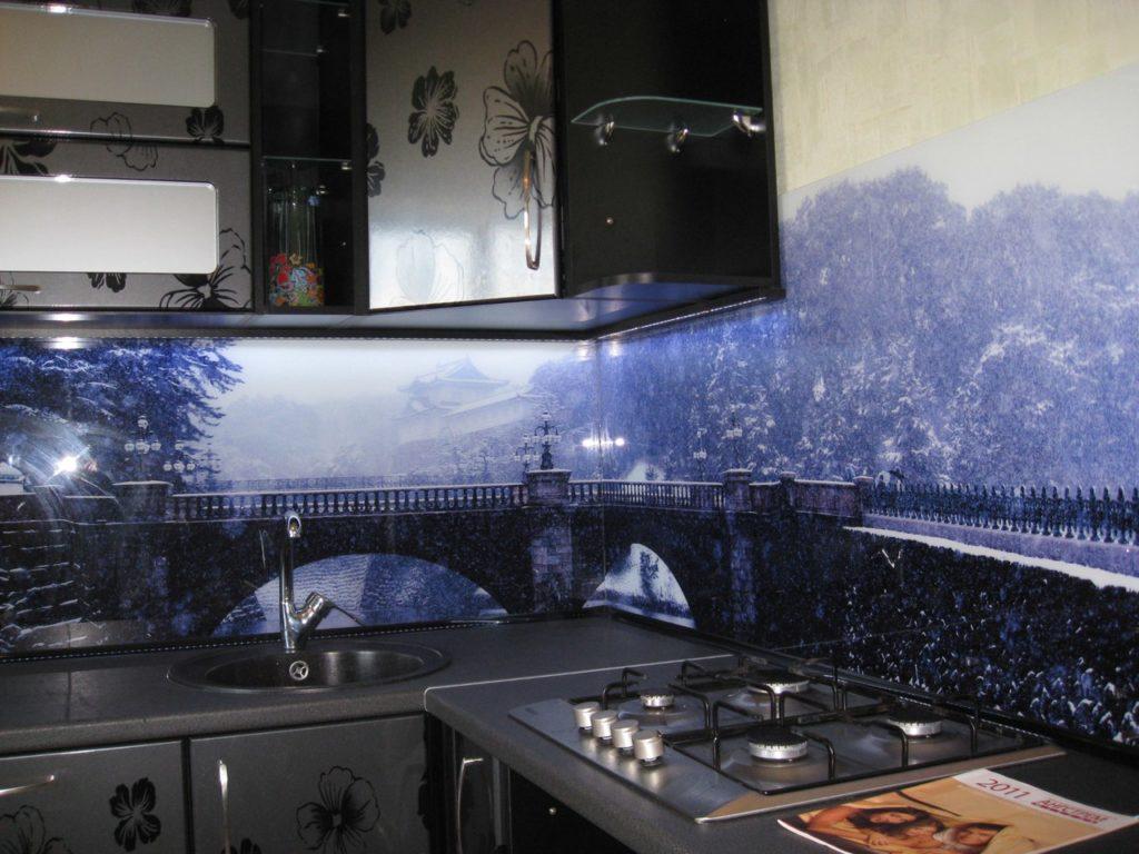 """Стеновая панель для кухонного фартука """"Зима"""""""