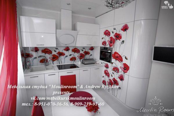 Кухонный фартук, стеновая панель с изображением маков