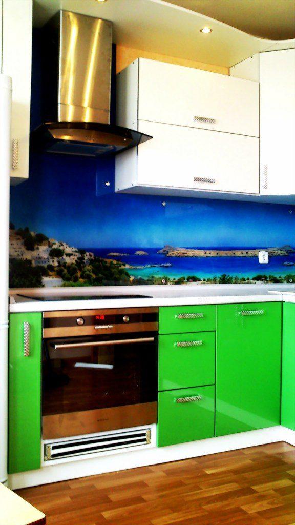 Кухонный фартук море, отлчно подходит для салатовой кухни