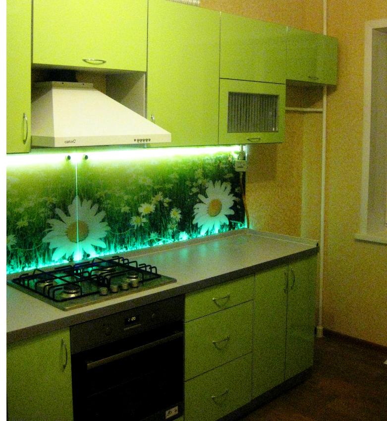 Ромашки на кухонном фартуке, стеновая панель из стекла