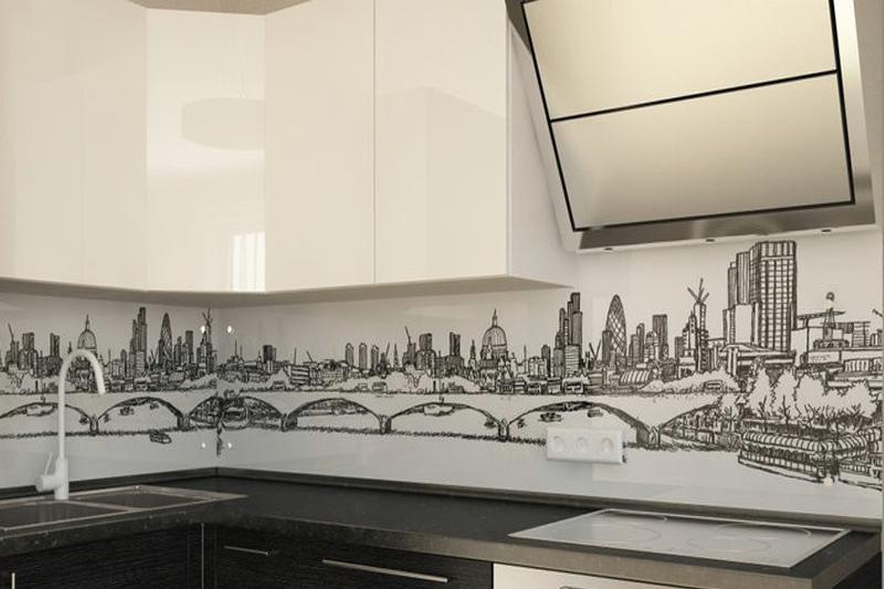 Кухонный фартук с изображением рисованного города на белом фоне