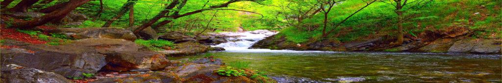 Стеновая панель из закаленного стекла вода, природа, водопад