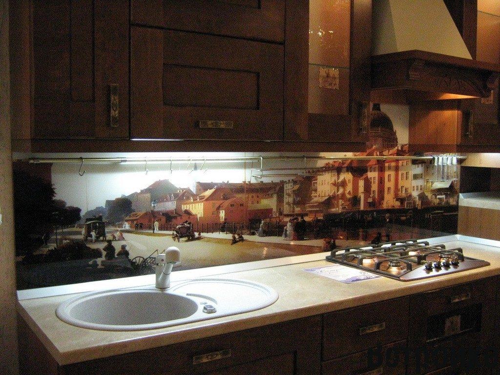 Кухонный фартук с эффектом расширения пространства