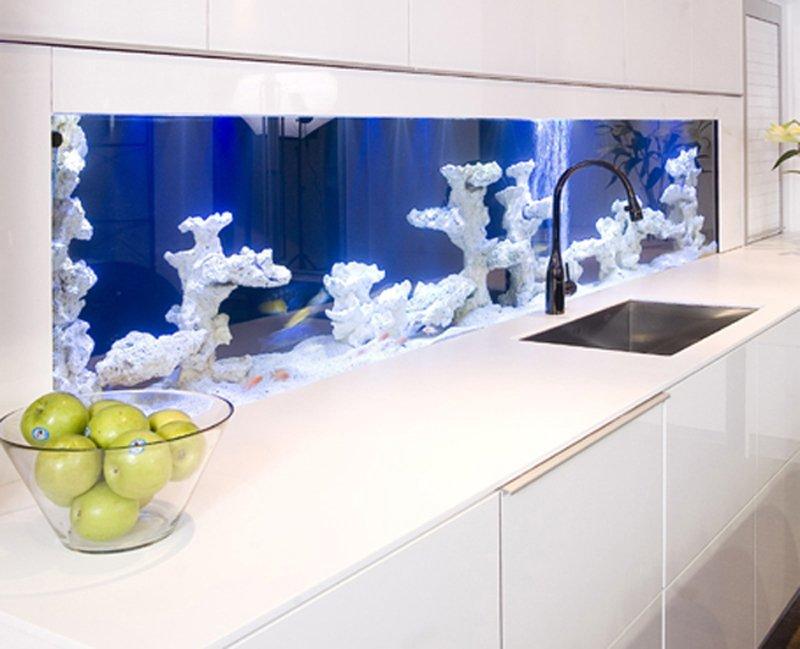 Кухонный фартук в виде аквариума