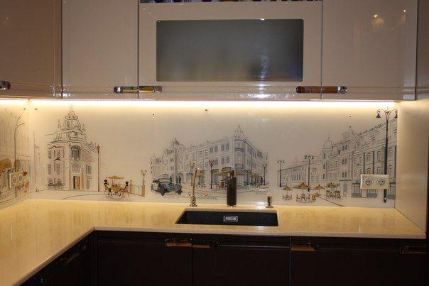 Кухонный фартук белое стекло