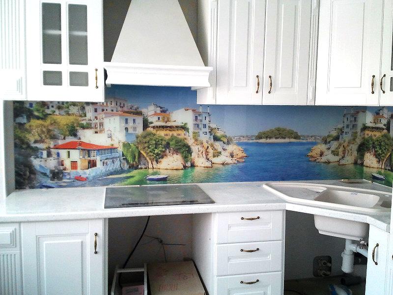 кухонный фартук с изображением моря перспектива