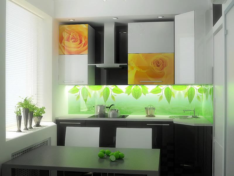 кухонный фартук с крупным цветочным рисунком