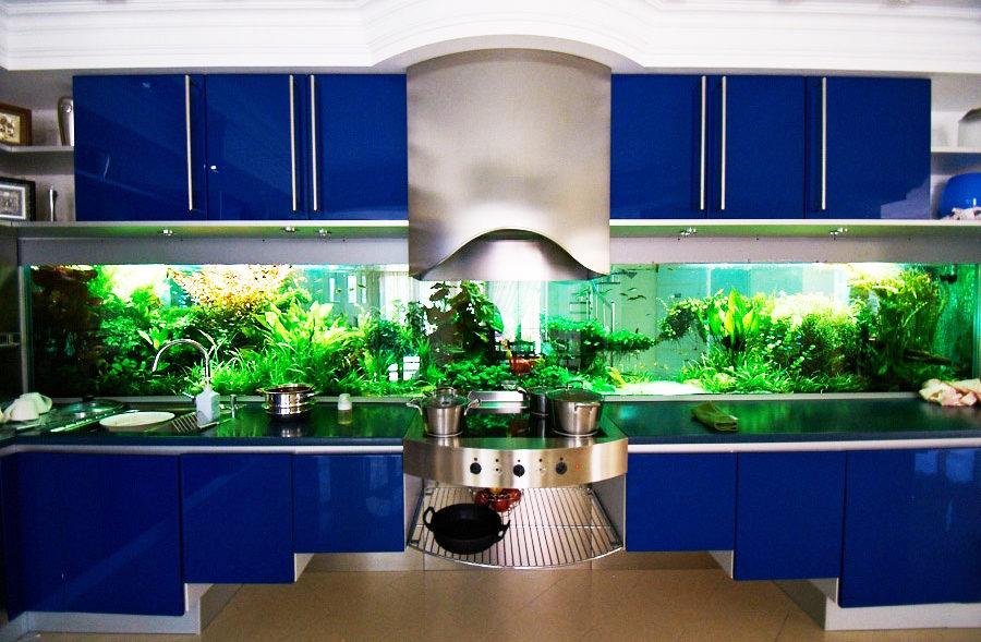 Вместо кухонного фартука аквариум