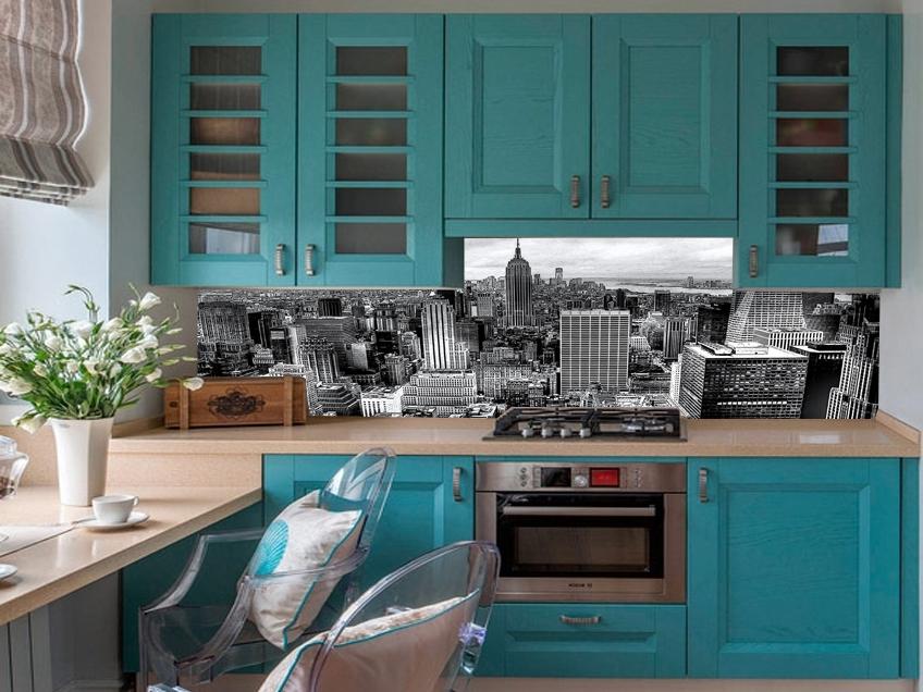 Кухонный фартук подходящий к бирюзовой кухне изображение город