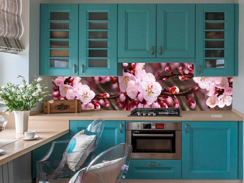 Кухонный фартук подходящий к бирюзовой кухне