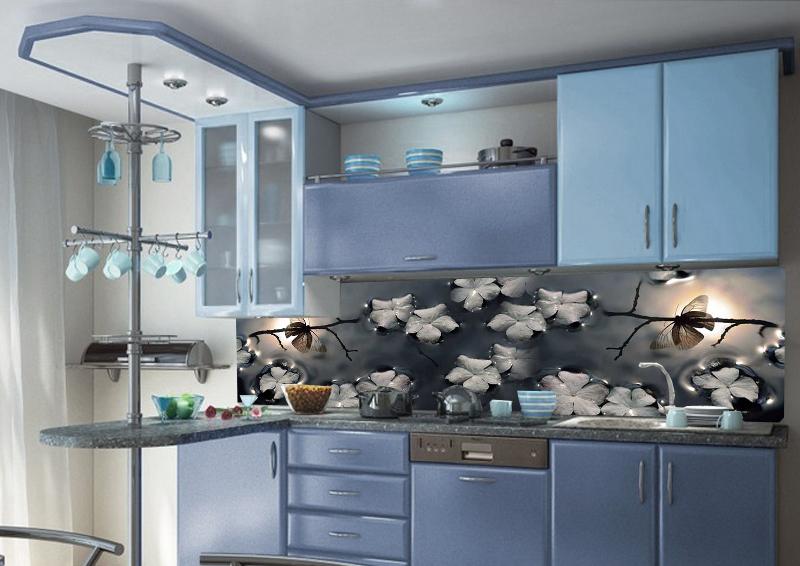 Кухонный фартук подходящий к бледно васильковой кухне