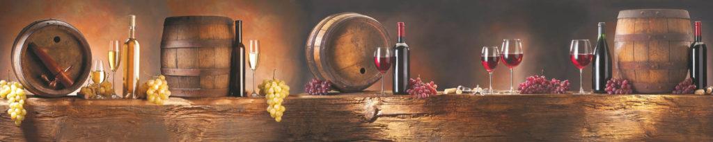 изображение для кухонного фартука бочки, вино, виноград, стеновая панель бочки