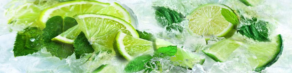 изображение для кухонного фартука лайм, мята, лед