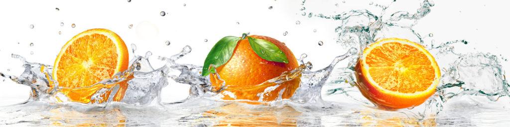 изображения для кухонного фартука апельсины, вода, брызги фрукты