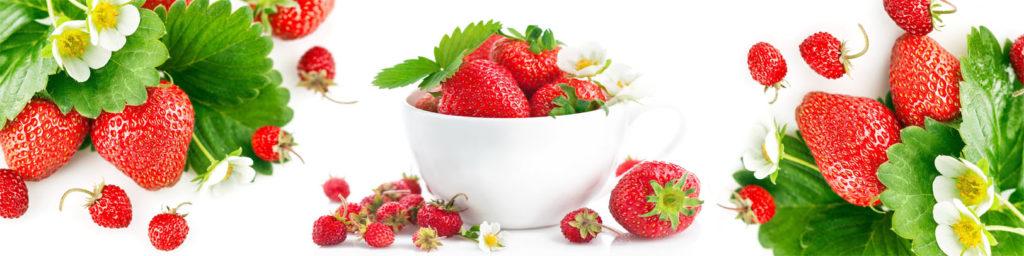 изображение для кухонного фартука, картинка для скинали клубники, фрукты, на белом фоне