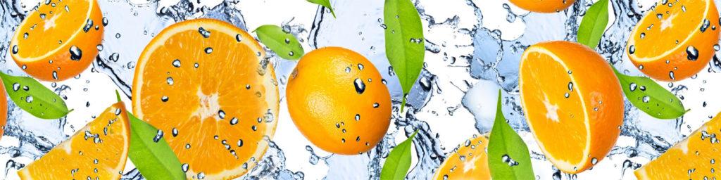 изображения для кухонных фартуков апельсины в воде, брызги, апельсины