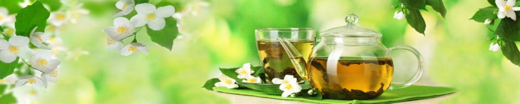 изображения для кухонных фартуков жасмин, цветы, чай. чайник, зеленый