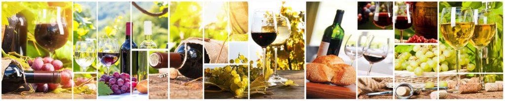 изображение для кухонного фартука вино, бокалы, виноград, коллаж