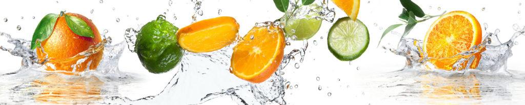 изображение для кухонного фартука фрукты в воде, фрукты, апельсины, лимоны, лайм, киви