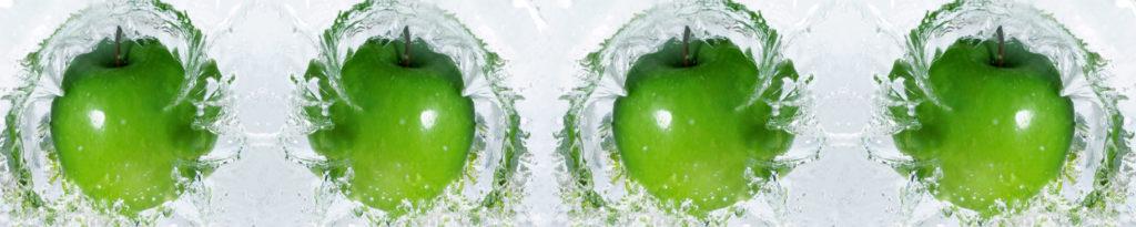 изображение для кухонного фартука зеленые яблоки в воде