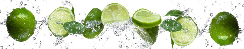 изображение для кухонного фартука фрукты в воде, брызги, лайм, лимон в воде
