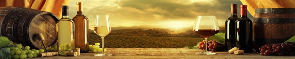 изображение для кухонного фартука вино, бокалы, бутылка вина, простор, горизонт, природа