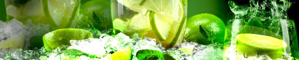 изображение для кухонного фартука лайм, лайм в стакане со льдом, лайм и лед